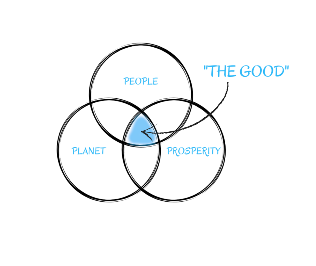 """Three circles overlap each other, with the overlap coloured blue and the words """"the good' pointing to it. The three circles say 'people' 'planet' and 'prosperity' inside them."""